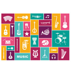 Silhouettes of musical instruments icon sen vector