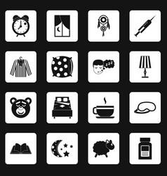 Sleep icons set squares vector