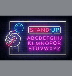 stand up neon signboard in frame vector image