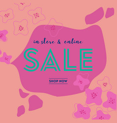 summer sale poster with tropic leaves and flowers vector image