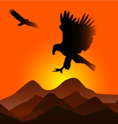 Sunset with eagles vector