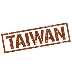 Taiwan brown square stamp vector