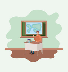 Teacher in the geography class vector