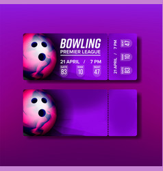 Ticket tear-off coupon on bowling match vector