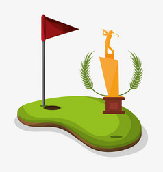 trophy golf player field flag hole one vector image
