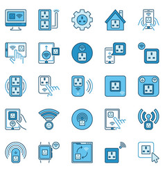 uk smart socket colored icons set - smart vector image