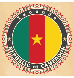 Vintage label cards of Cameroon flag vector