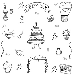 Wedding in doodle hand draw vector