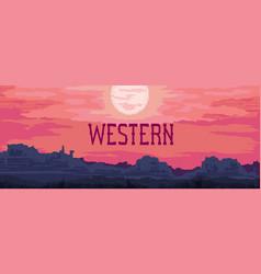 Western landscape banner vector