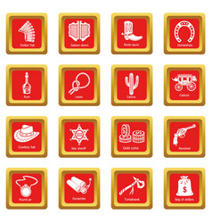 wild west icons set red square vector image