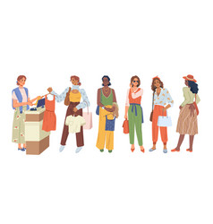 women buyers stand in queue at cash desk shopping vector image