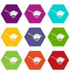 garden wheelbarrow icon set color hexahedron vector image
