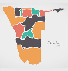 namibia map with states and modern round shapes vector image
