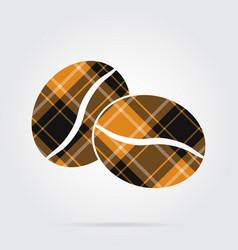 orange black tartan icon - two coffee beans vector image vector image