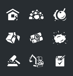 set of demolition icons vector image