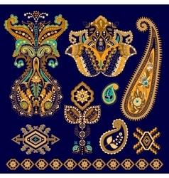 Set of Paisley floral decorative elements vector image