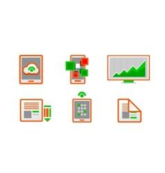 Web orange minimal light icon set vector image