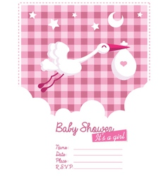 Baby Girl Invitation with Stork vector image vector image