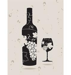 Bottle wine glass grapes vector image vector image