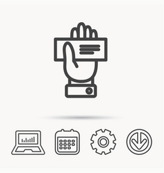 cheque icon giving hand sign vector image