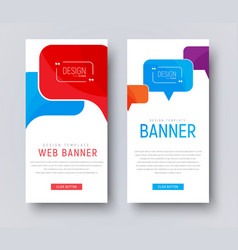design of white web banners with colored bubbles vector image