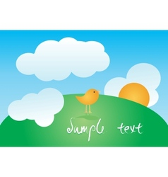 greeting card with cute bird vector image vector image
