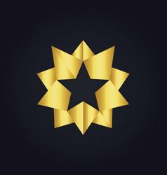star 3d gold abstract logo vector image