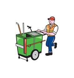 Streeet Cleaner Pushing Trolley Cartoon Isolated vector image vector image