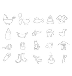 Thin line baby icons vector image
