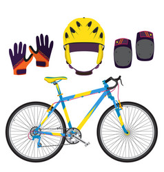 bicycle bike equipment and protect gear in flat vector image