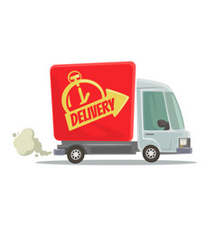 fast delivery truck isolated red car moving vector image vector image