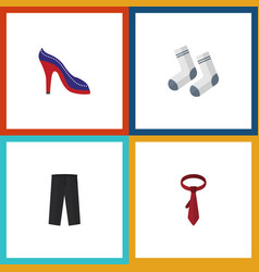 Flat icon garment set of heeled shoe foot textile vector