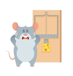 Grey mouse and a mousetrap vector image