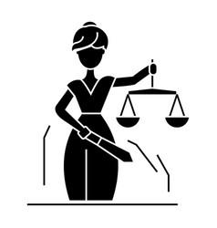 justice statue icon black vector image vector image
