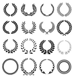 laurel wreath icons set vector image