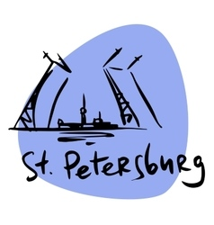 St Petersburg Russia drawbridge Neva vector image