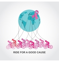 Cancer awareness cycling race or competition vector