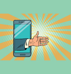 greeting handshake open palm in the smartphone vector image vector image