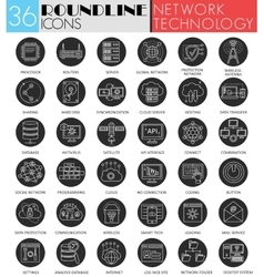 network technology circle white black icon vector image