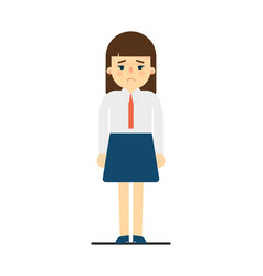 sad young woman in uniform character vector image