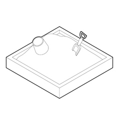 Sandbox icon in outline style vector image vector image