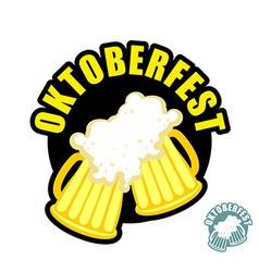 Two beer mugs clink Symbol of Oktoberfest logo vector image