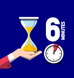 6 six minutes time symbol with clock and hourglass vector image