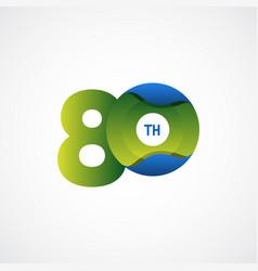 80 th anniversary celebrations green blue vector