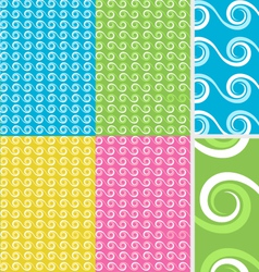 Abstract Wave seamless pattern set vector image