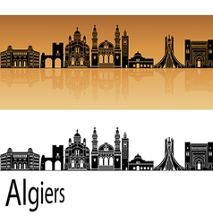 Algiers skyline in orange vector