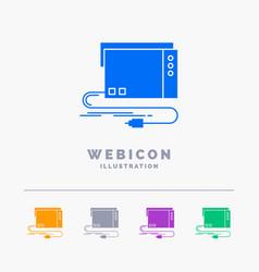 Audio card external interface sound 5 color glyph vector