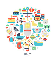Baby flat infographics icons in circle - color vector
