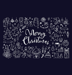 Big set christmas design doodle elements vector