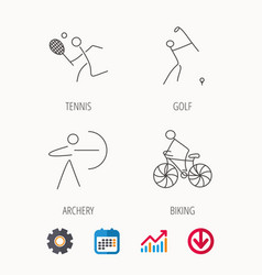 Biking tennis and golf icons vector